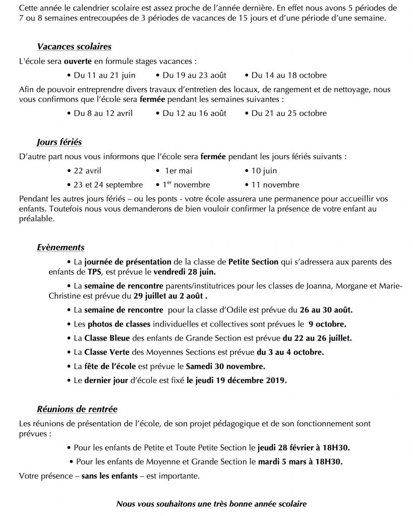 Calendrier Sans Annee.Calendrier Kindy School Ecole Maternelle A Noumea